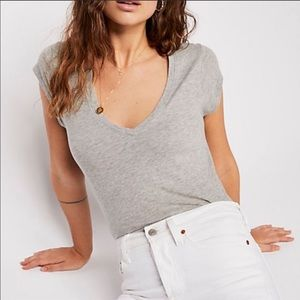 Free People Grey V Neck Tee Shirt